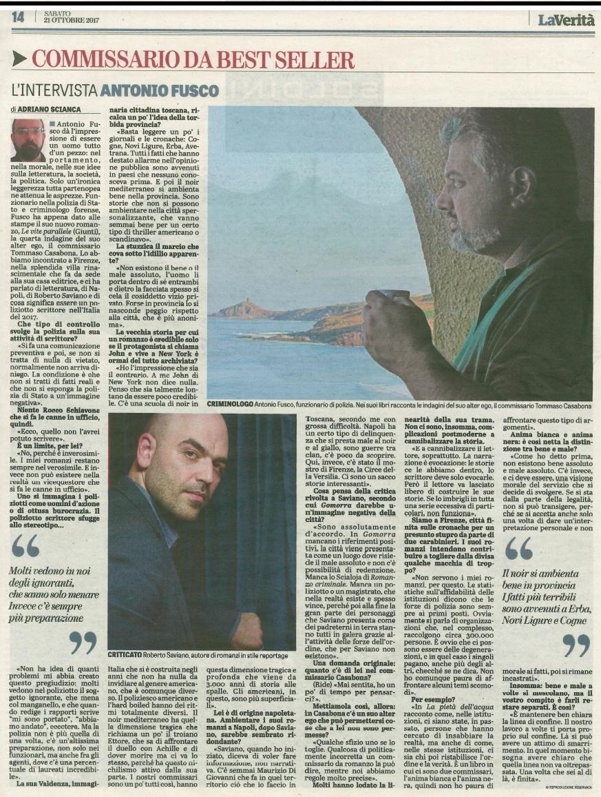 Intervista a La Verità 21 ottobre 2017